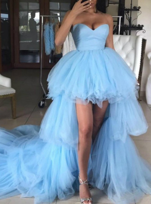 Blue Tulle Hi Lo Sweetheart Prom Dress With Long Train