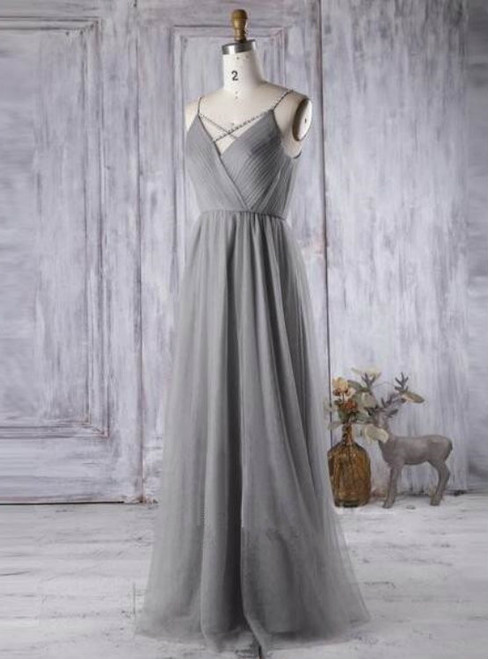 Simple Gray Tulle Bridesmaid Dress A Line V Neck Prom Dress