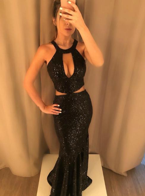 Black Mermaid Sequins Halter Cut Out Long Prom Dress