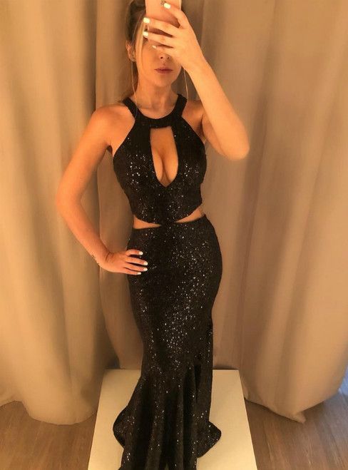 Black Mermaid Sequins Halter Cut Out Long Prom Dress