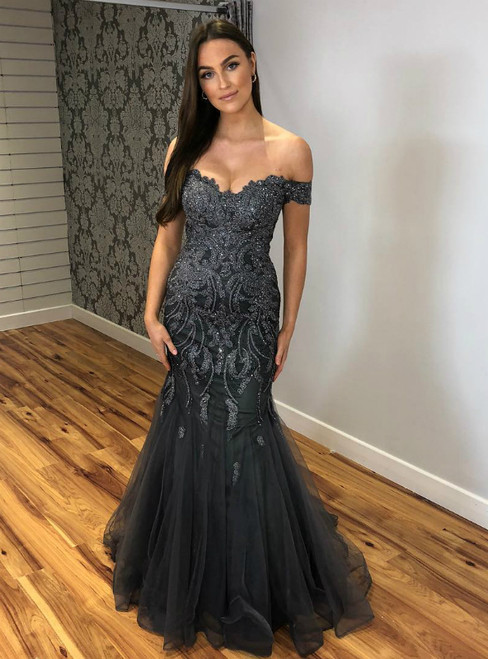 Gray Mermaid Tulle Off the Shoulder Appliques Prom Dress