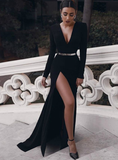Sexy Black Mermaid Satin Deep V-neck Long Sleeve Prom Dress With Belt
