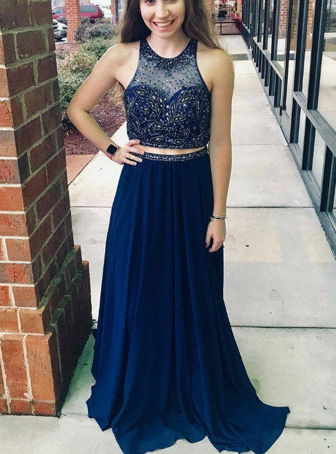 Navy Blue Two Piece Chiffon Backless Prom Dress With Beading