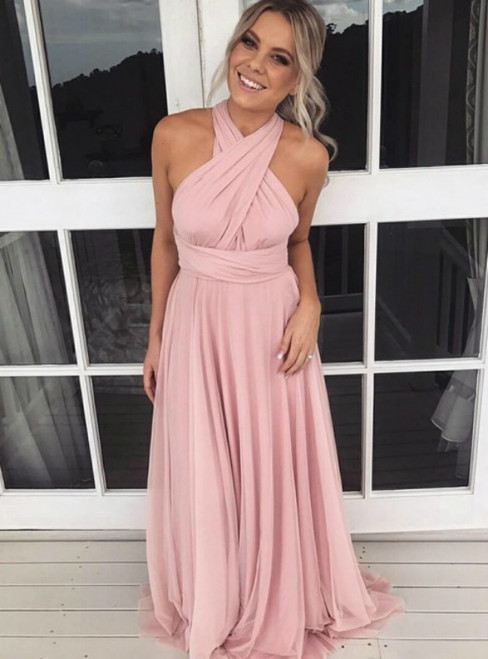 A-Line Cross Neck Backless Pink Chiffon Bridesmaid Dress