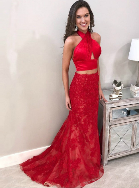 Two Piece Halter Backless Sweep Train Red Prom Dress with Beading