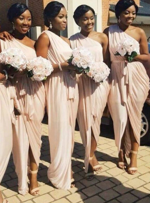 One Shoulder Pink Bridesmaid Dress Cheap 2017 Wedding Party Dress