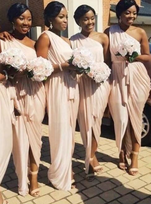 One Shoulder Pink Bridesmaid Dress Cheap 2017 Wedding Party Dress