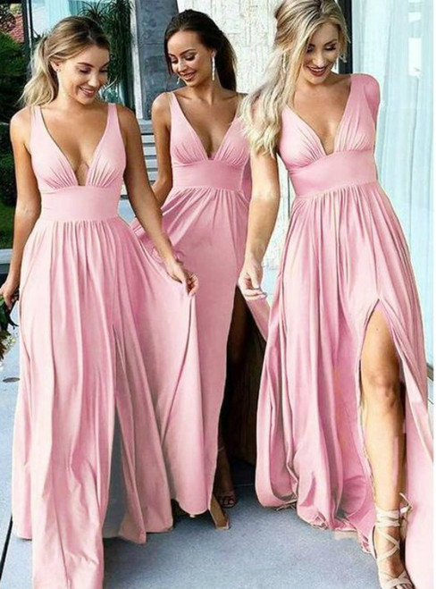 A Line Deep Slit Deep V Neck Long Bridesmaid Dresses