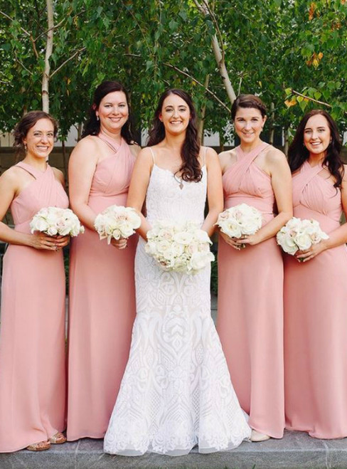 A-Line Halter Floor-Length Pink Chiffon Bridesmaid Dress