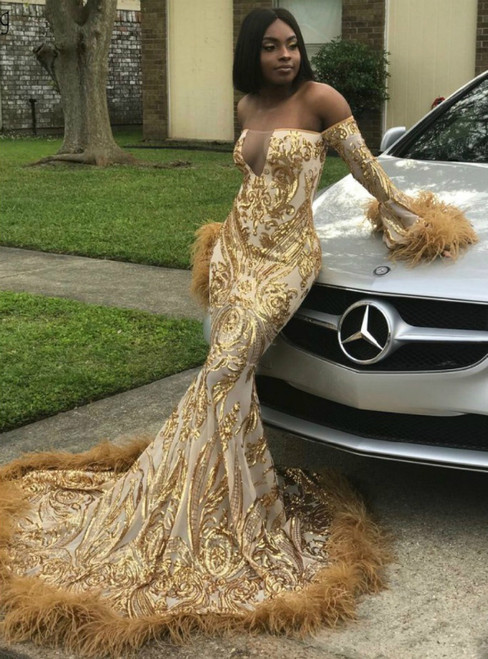 Gold Appliques Off Shoulder Long Sleeves Feathers Chic Evening Dress
