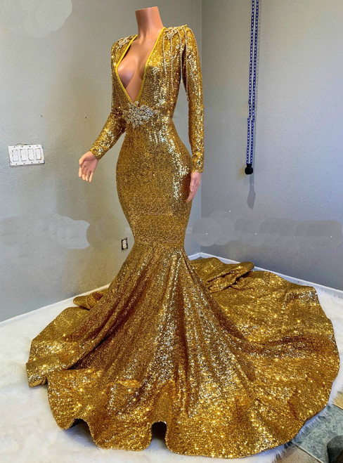 Sparkle Sequined Long Sleeves Mermaid Gold Prom Dresses with Long Train