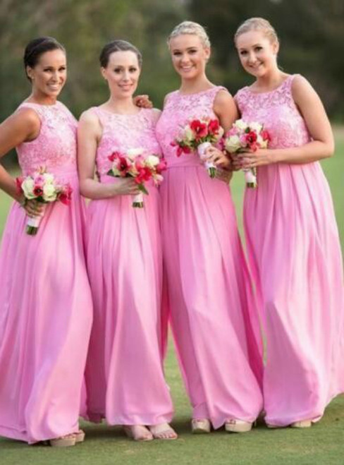 Pink Sleeveless Floor Length Chiffon Bridesmaid Dress with Lace Bodice