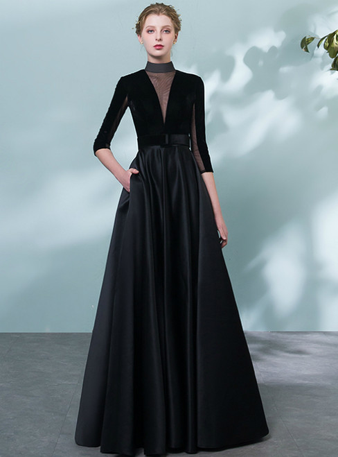 db161a00ce5b2 In Stock:Ship in 48 Hours Black Satin Long Sleeve Prom Dress With Belt