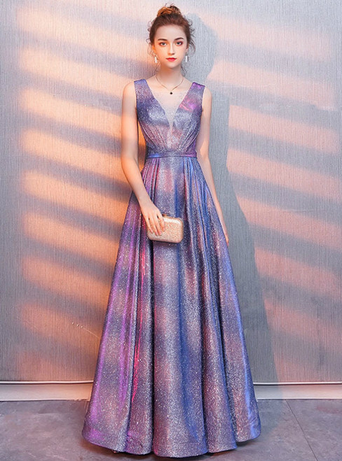 In Stock:Ship in 48 Hours Purple V-neck Pleats Prom Dress