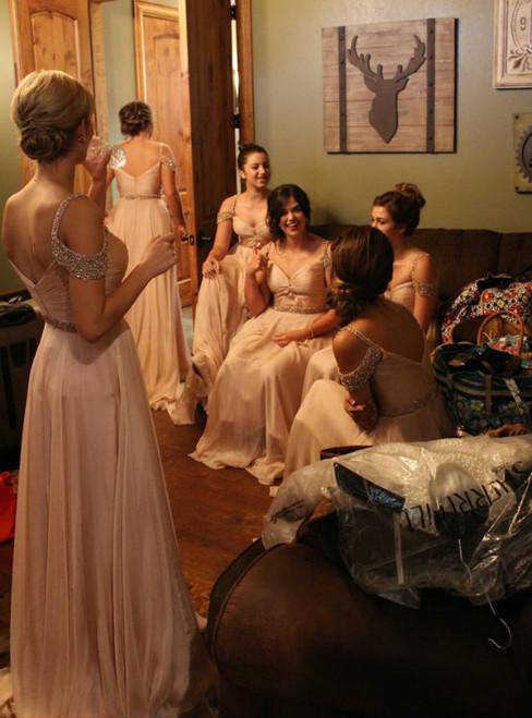 Sexy Pink Cold Shoulder Sleeveless Chiffon Bridesmaid Dresses