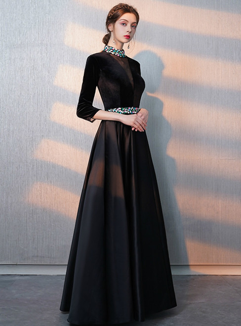 In Stock:Ship in 48 Hours High Neck Long Sleeve Prom Dress With Crystal