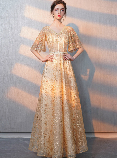 In Stock:Ship in 48 Hours Champagne Gold Lace V-neck Prom Dress