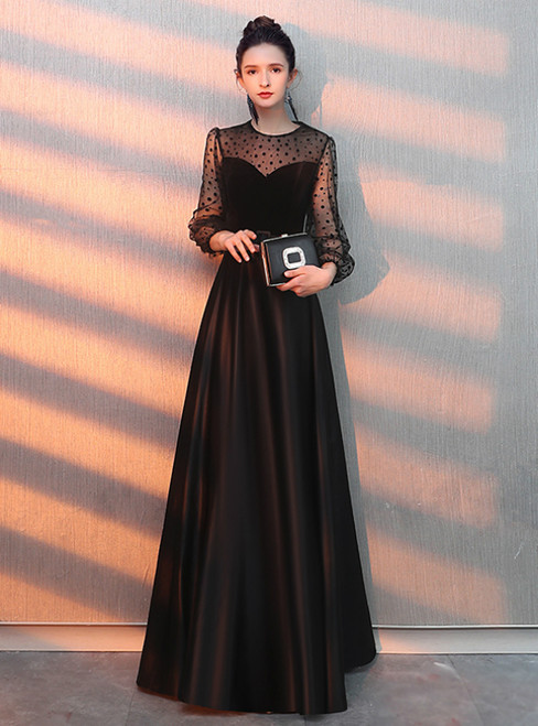 In Stock:Ship in 48 Hours Black Satin Long Sleeve Prom Dress