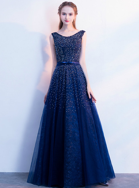 In Stock:Ship in 48 Hours Blue Tulle Beadings Prom Dress With Bow