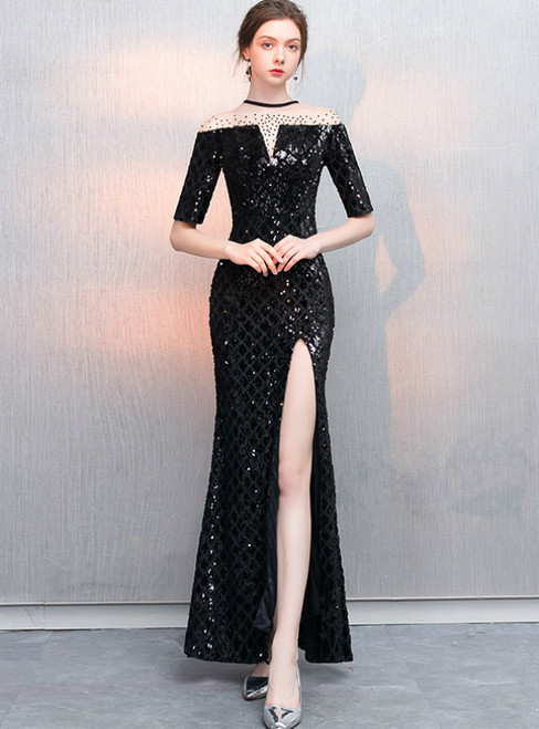 In Stock:Ship in 48 Hours Black Mermaid Sequins Short Sleeve Prom Dress With Split