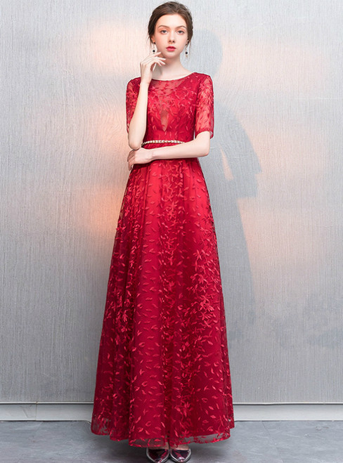 In Stock:Ship in 48 Hours Red lace Short Sleeve Prom Dress With Belt