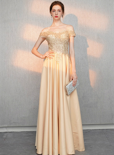 dc4a0a9c7766 In Stock:Ship in 48 Hours Champagne Gold Satin Off the Shoulder Appliques  Prom Dress