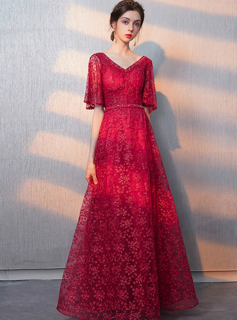 In Stock:Ship in 48 Hours Red Lace V-neck Prom Dress With Beadings