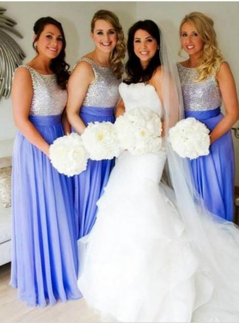 A-Line Blue Chiffon Sleeveless Floor-Length Bridesmaid Dresses