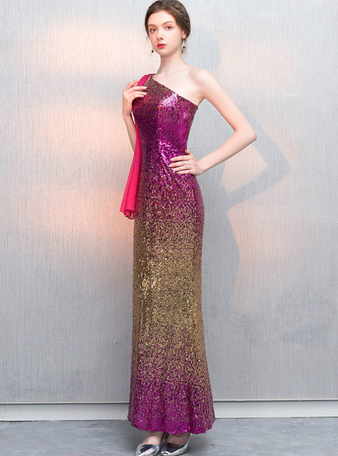 In Stock:Ship in 48 Hours Purple Gold Sequins One Shoulder Prom Dress