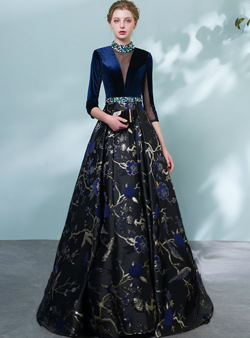 In Stock:Ship in 48 Hours Black Embroidery Flower High Neck Prom Dress