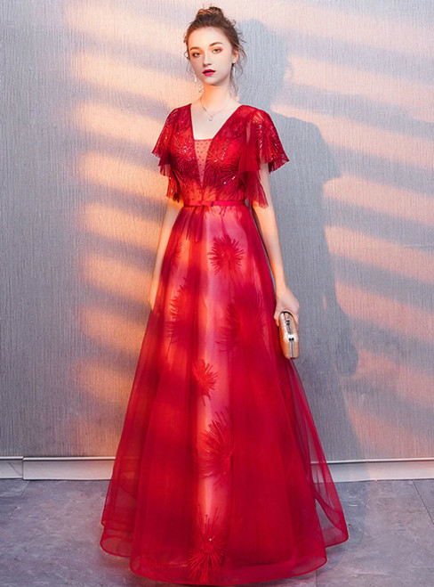 In Stock:Ship in 48 Hours Red Tulle V-neck Backless Prom Dress
