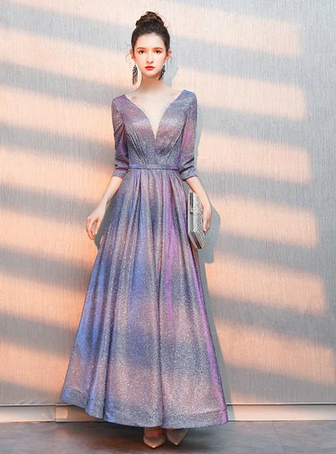 In Stock:Ship in 48 Hours Purple V-neck Half Sleeve Prom Dress