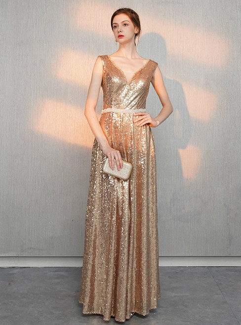 In Stock:Ship in 48 Hours Gold Sequins V-neck Prom Dress With Beading
