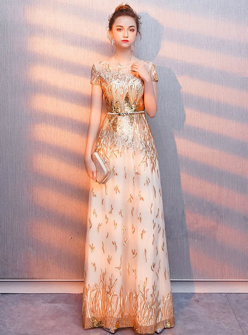 In Stock:Ship in 48 Hours Gold Tulle Sequins Cap Sleeve Prom Dress With Sash