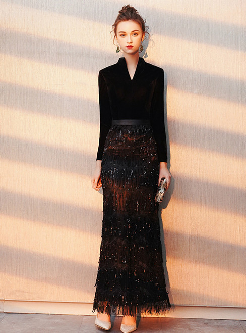 In Stock:Ship in 48 Hours Black Sequins Long Sleeve Prom Dress