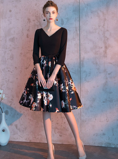 In Stock:Ship in 48 Hours Black Satin Print Long Sleeve Homecoming Dress