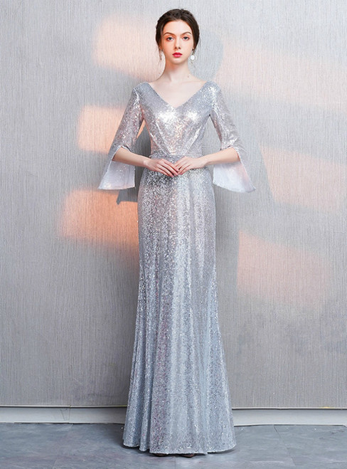 In Stock:Ship in 48 Hours Silver Sequins V-neck Long Sleeve Prom Dress