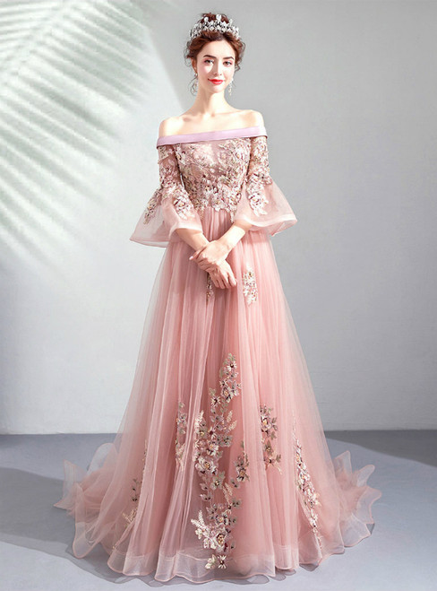 In Stock:Ship in 48 Hours Pink Tulle Appliques Off the Shoulder Puff Sleeve Prom Dress