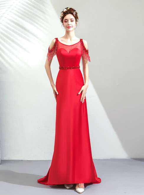 In Stock:Ship in 48 Hours Red Mermaid Satin Bateau Backless Prom Dress