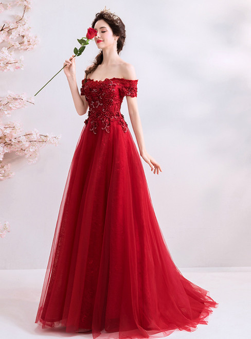 In Stock:Ship in 48 Hours A-Line Red Tulle Appliques Off the Shoulder Prom Dress