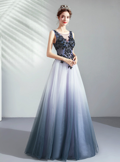 In Stock:Ship in 48 Hours Blue Tulle Bateau Appliques Prom Dress