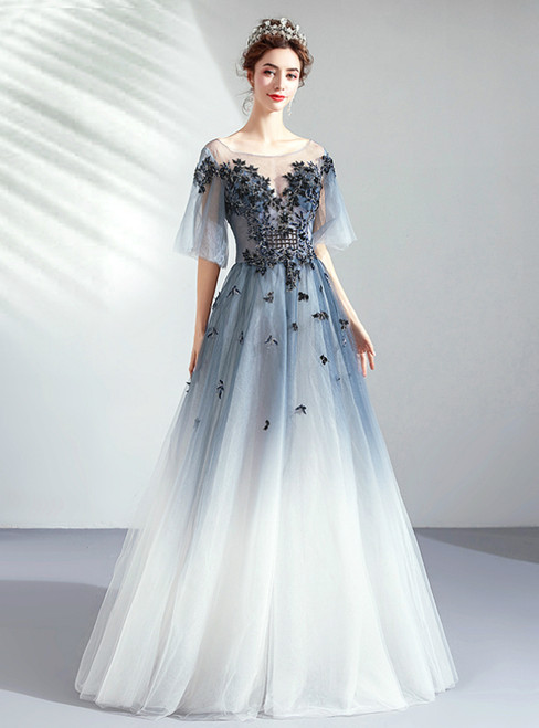 In Stock:Ship in 48 Hours Blue Tulle Appliques Puff Sleeve Prom Dress