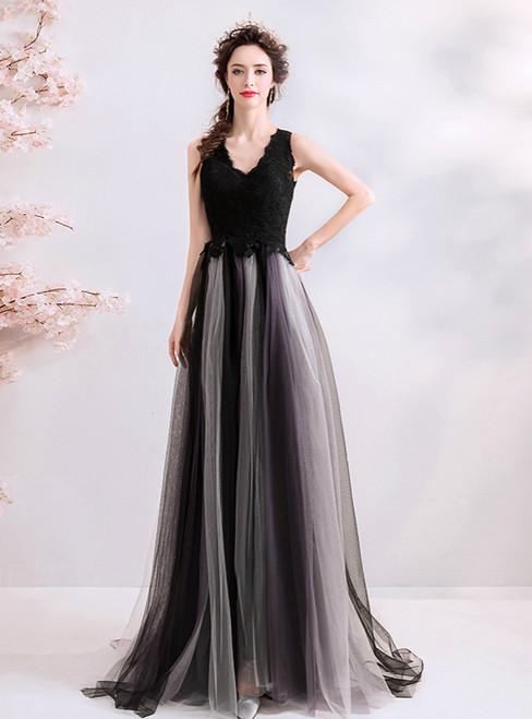 In Stock:Ship in 48 Hours Black V-neck Tulle Prom Dress
