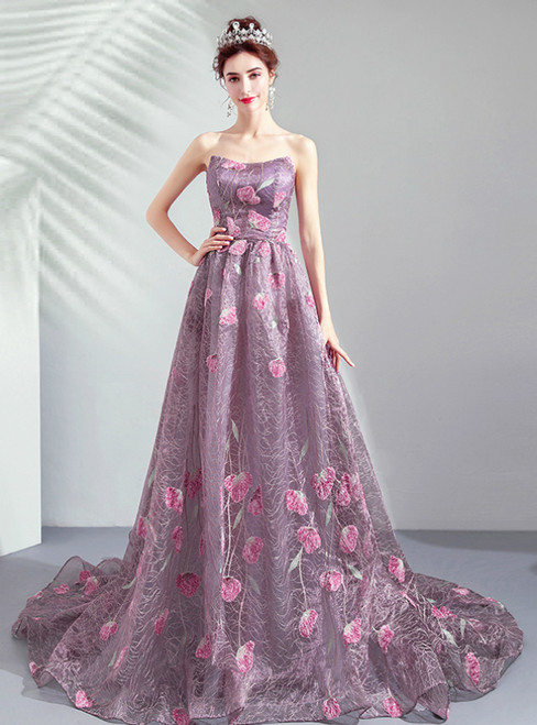 In Stock:Ship in 48 Hours Purple Tulle Embroidery Prom Dress