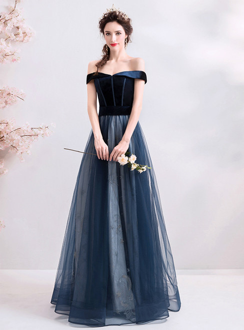In Stock:Ship in 48 Hours Dark Blue Tulle Off the Shoulder Prom Dress