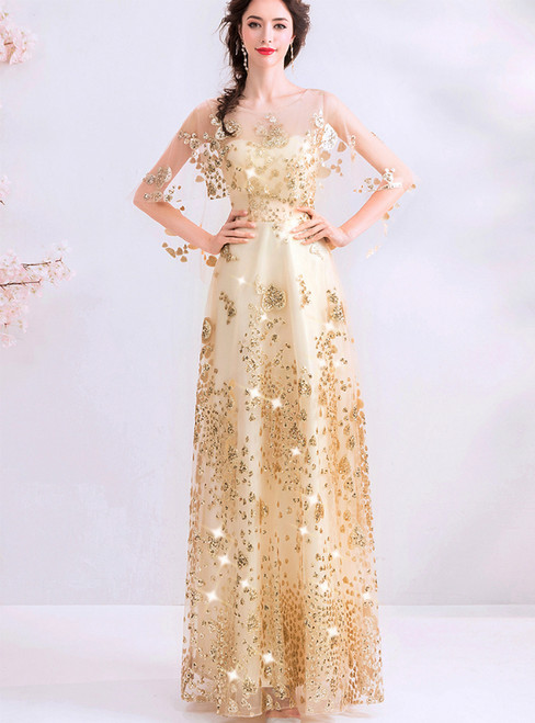 In Stock:Ship in 48 Hours Gold Tulle Sequins Backless Prom Dress
