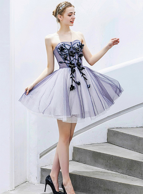 In Stock:Ship in 48 Hours Blue Tulle Appliques Mini Homecoming Dress