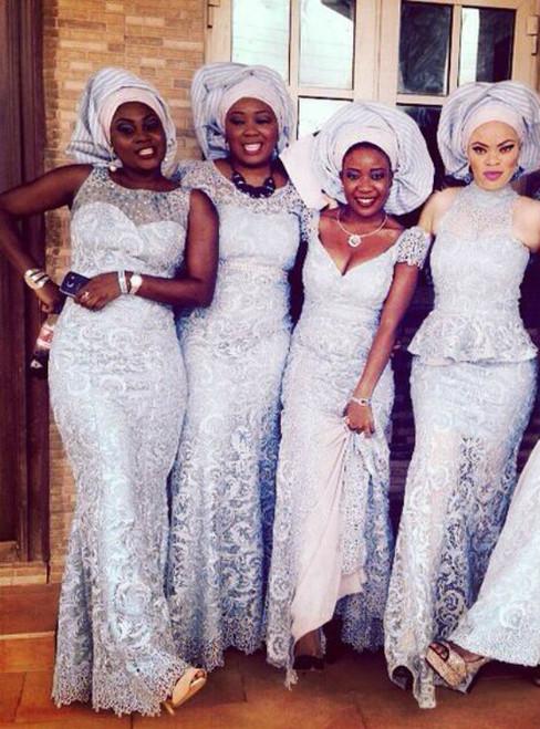 Arabic Mermaid Silver Bridesmaid Dresses  Lace Long Wedding Guest dress
