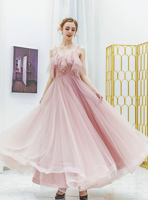 In Stock:Ship in 48 Hours Pink Spaghetti Straps Tulle Prom Dress With Beading