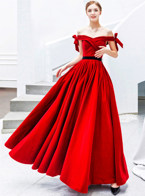 In Stock:Ship in 48 Hours Red Velvet Off the Shoulder Prom Dress